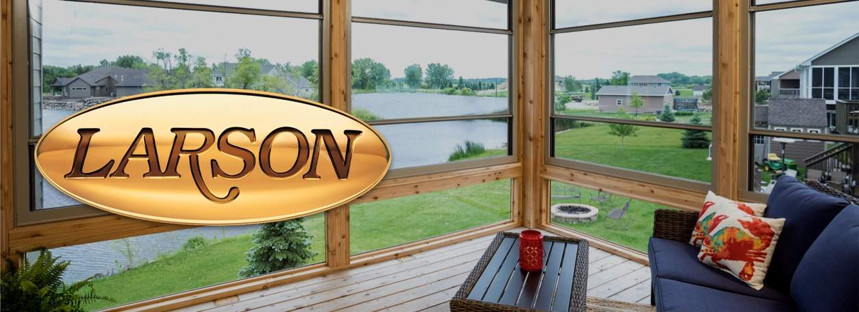 Larson windows with Larson logo