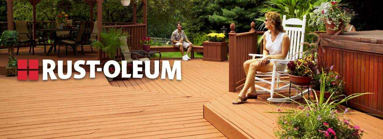 Rust-Oleum logo with person sitting on Rust-Oleum stained deck
