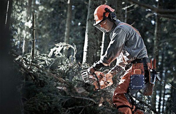 man using chainsaw to cut tree limbs