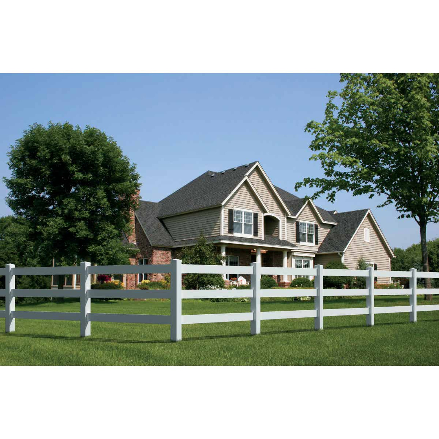 Outdoor Essentials 5 In. x 5 In. x 84 In. White End 3-Rail Fence Vinyl Post Image 2