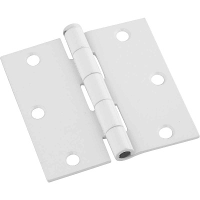 National 3-1/2 In. Square White Door Hinge (3-Pack)