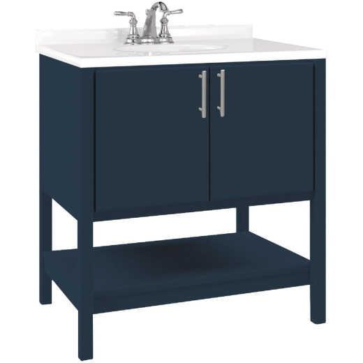 Bertch Essence 30 In. W x 34-1/2 In. H x 21 In. D Cobalt Furniture Style Vanity Base, 2 Door