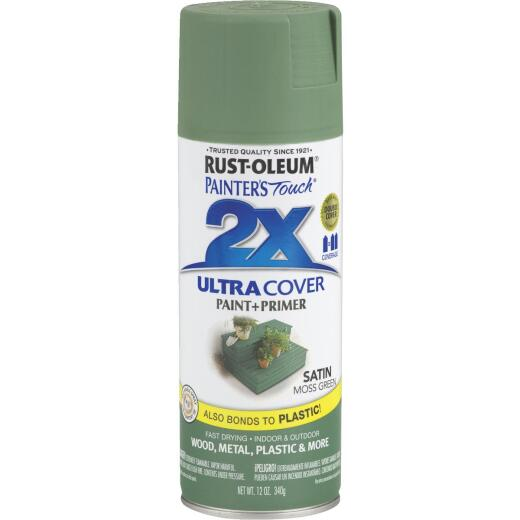 Rust-Oleum Painter's Touch 2X Ultra Cover 12 Oz. Satin Paint + Primer Spray Paint, Moss Green
