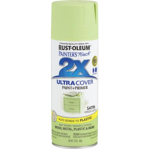 Rust-Oleum Painter's Touch 2X Ultra Cover 12 Oz. Satin Paint + Primer Spray Paint, Green Apple