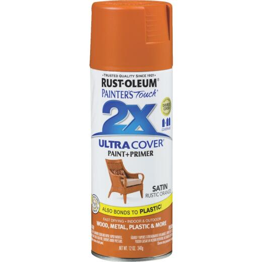 Rust-Oleum Painter's Touch 2X Ultra Cover 12 Oz. Satin Paint + Primer Spray Paint, Rust Orange